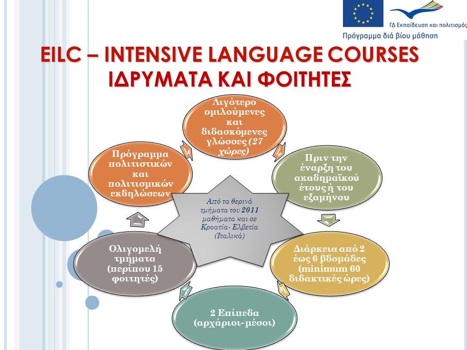 EILC – INTENSIVE LANGUAGE COURSES ΙΔΡΥΜΑΤΑ ΚΑΙ ΦΟΙΤΗΤΕΣ Λιγότερο ομιλούμενες και διδασκόμενες γλώσσες (27 χώρες) Πριν την έναρξη του ακαδημαϊκού έτους ή του εξαμήνου Διάρκεια από 2 έως 6 βδομάδες (minimum 60 διδακτικές ώρες) 2 Επίπεδα (αρχάριοι- μέσοι) Ολιγομελή τμήματα (περίπου 15 φοιτητές) Πρόγραμμα πολιτιστικών και πολιτισμικών εκδηλώσεων Από τα θερινά τμήματα του 2011 μαθήματα και σε Κροατία- Ελβετία (Ιταλικά)