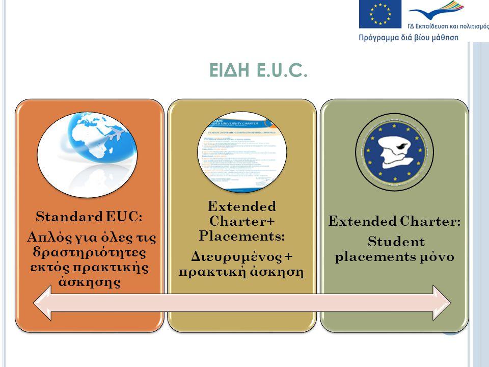 ΕΙΔΗ Ε.U.C. Standard EUC: Απλός για όλες τις δραστηριότητες εκτός πρακτικής άσκησης Extended Charter+ Placements: Διευρυμένος + πρακτική άσκηση Εxtend