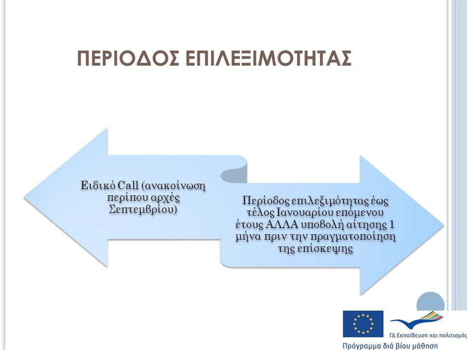 ΠΕΡΙΟΔΟΣ ΕΠΙΛΕΞΙΜΟΤΗΤΑΣ Ειδικό Call (ανακοίνωση περίπου αρχές Σεπτεμβρίου) Περίοδος επιλεξιμότητας έως τέλος Ιανουαρίου επόμενου έτους ΑΛΛΑ υποβολή αίτησης 1 μήνα πριν την πραγματοποίηση της επίσκεψης