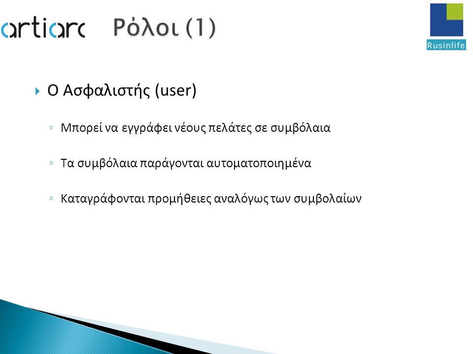  Ο Ασφαλιστής (user) ◦ Μπορεί να εγγράφει νέους πελάτες σε συμβόλαια ◦ Τα συμβόλαια παράγονται αυτοματοποιημένα ◦ Καταγράφονται προμήθειες αναλόγως των συμβολαίων