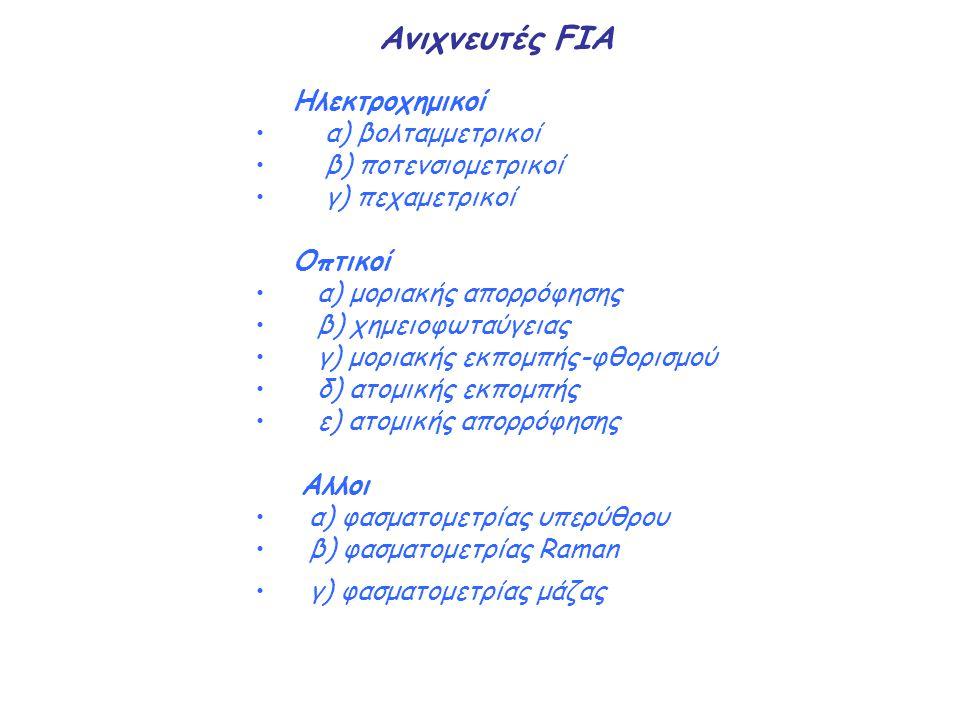 Ανιχνευτές FIA Ηλεκτροχημικοί α) βολταμμετρικοί β) ποτενσιομετρικοί γ) πεχαμετρικοί Οπτικοί α) μοριακής απορρόφησης β) χημειοφωταύγειας γ) μοριακής εκ