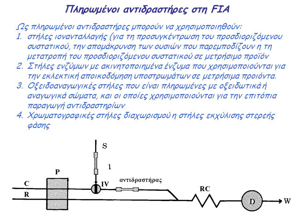 Πληρωμένοι αντιδραστήρες στη FIA Ως πληρωμένοι αντιδραστήρες μπορούν να χρησιμοποιηθούν: 1.στήλες ιονανταλλαγής (για τη προσυγκέντρωση του προσδιοριζό