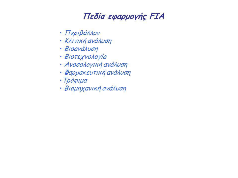 Πεδία εφαρμογής FIA Περιβάλλον Κλινική ανάλυση Βιοανάλυση Βιοτεχνολογία Ανοσολογική ανάλυση Φαρμακευτική ανάλυση Τρόφιμα Βιομηχανική ανάλυση