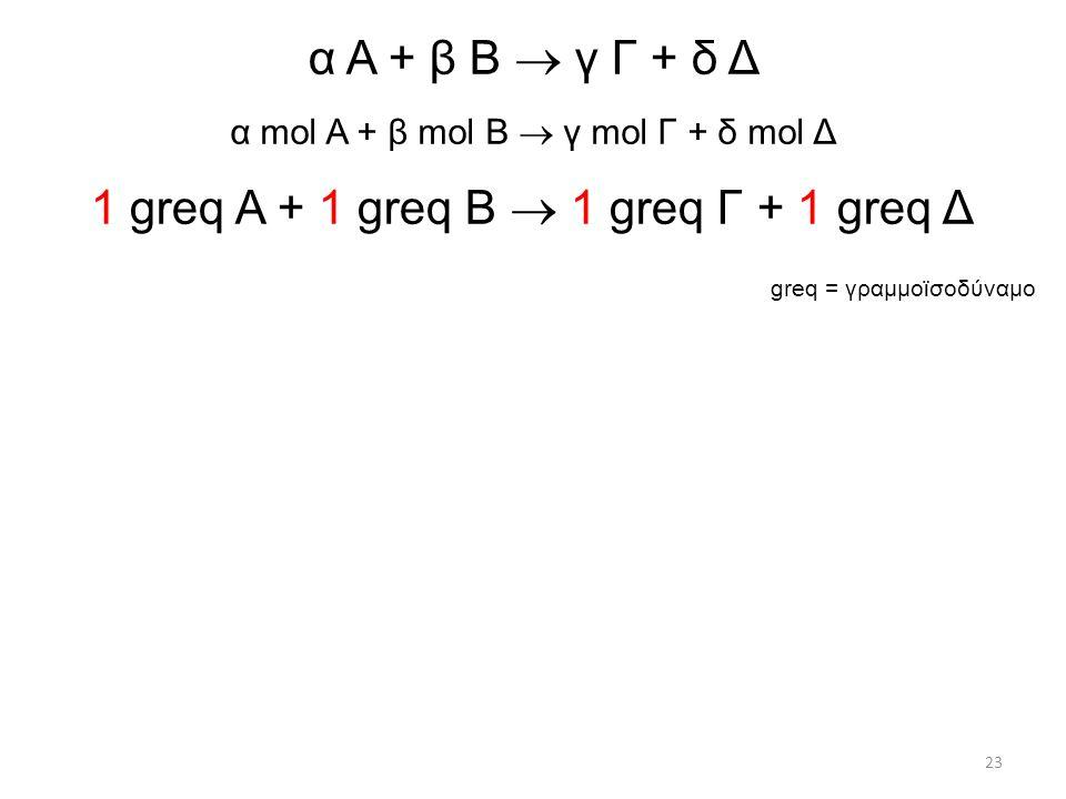 α Α + β Β  γ Γ + δ Δ α mol Α + β mol Β  γ mol Γ + δ mol Δ 1 greq Α + 1 greq Β  1 greq Γ + 1 greq Δ greq = γραμμοϊσοδύναμο 23