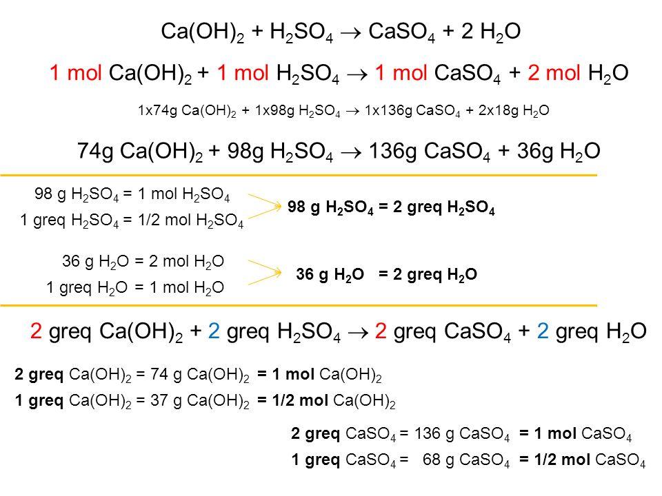 Ca(OH) 2 + H 2 SO 4  CaSO 4 + 2 H 2 O 1 mol Ca(OH) 2 + 1 mol H 2 SO 4  1 mol CaSO 4 + 2 mol H 2 O 2 greq Ca(OH) 2 + 2 greq H 2 SO 4  2 greq CaSO 4 + 2 greq H 2 O 1x74g Ca(OH) 2 + 1x98g H 2 SO 4  1x136g CaSO 4 + 2x18g H 2 O 74g Ca(OH) 2 + 98g H 2 SO 4  136g CaSO 4 + 36g H 2 O 2 greq Ca(OH) 2 36 g H 2 O 98 g H 2 SO 4 = 1 mol H 2 SO 4 = 74 g Ca(OH) 2 = 1 mol Ca(OH) 2 = 2 mol H 2 O 1 greq H 2 SO 4 = 1/2 mol H 2 SO 4 98 g H 2 SO 4 = 2 greq H 2 SO 4 1 greq H 2 O= 1 mol H 2 O 36 g H 2 O= 2 greq H 2 O 1 greq Ca(OH) 2 = 37 g Ca(OH) 2 = 1/2 mol Ca(OH) 2 2 greq CaSO 4 = 136 g CaSO 4 = 1 mol CaSO 4 1 greq CaSO 4 = 68 g CaSO 4 = 1/2 mol CaSO 4