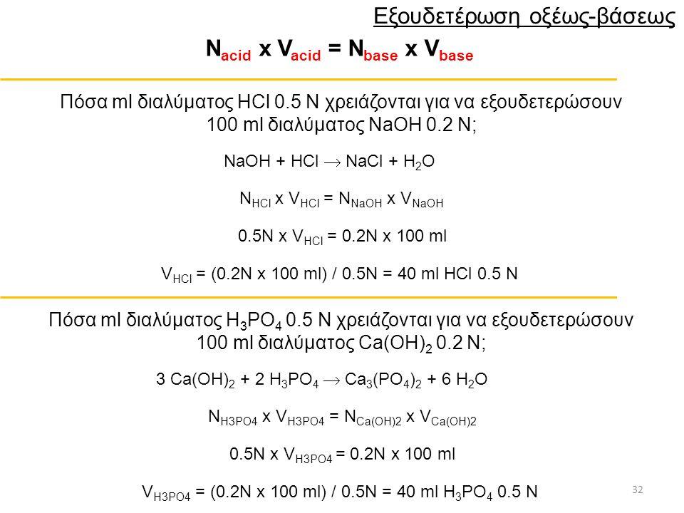 32 Εξουδετέρωση οξέως-βάσεως Ν acid x V acid = N base x V base Πόσα ml διαλύματος HCl 0.5 Ν χρειάζονται για να εξουδετερώσουν 100 ml διαλύματος NaOH 0.2 Ν; Ν HCl x V HCl = N NaOH x V NaOH 0.5N x V HCl = 0.2N x 100 ml V HCl = (0.2N x 100 ml) / 0.5N = 40 ml HCl 0.5 N Πόσα ml διαλύματος H 3 PO 4 0.5 Ν χρειάζονται για να εξουδετερώσουν 100 ml διαλύματος Ca(OH) 2 0.2 Ν; Ν H3PO4 x V H3PO4 = N Ca(OH)2 x V Ca(OH)2 0.5N x V H3PO4 = 0.2N x 100 ml V H3PO4 = (0.2N x 100 ml) / 0.5N = 40 ml H 3 PO 4 0.5 N 3 Ca(OH) 2 + 2 H 3 PO 4  Ca 3 (PO 4 ) 2 + 6 H 2 O NaOH + HCl  NaCl + H 2 O