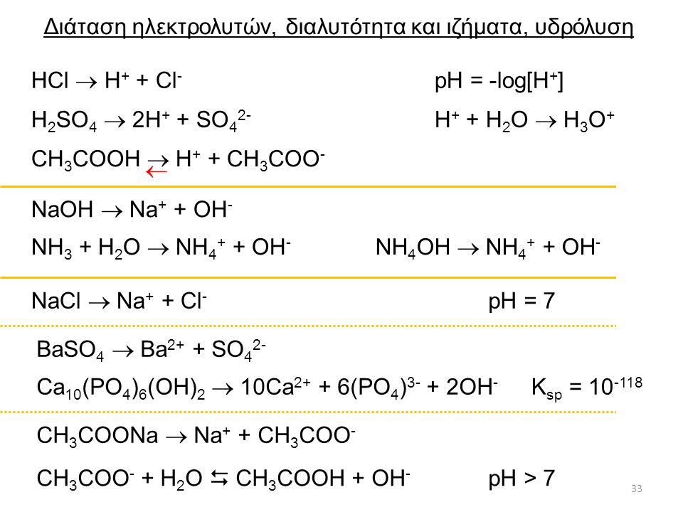 Διάταση ηλεκτρολυτών, διαλυτότητα και ιζήματα, υδρόλυση 33 HCl  H + + Cl - H + + H 2 O  H 3 O + H 2 SO 4  2H + + SO 4 2- NaOH  Na + + OH - NH 3 + H 2 O  NH 4 + + OH - NH 4 OH  NH 4 + + OH - NaCl  Na + + Cl - BaSO 4  Ba 2+ + SO 4 2- Ca 10 (PO 4 ) 6 (OH) 2  10Ca 2+ + 6(PO 4 ) 3- + 2OH - CH 3 COOH  H + + CH 3 COO -  CH 3 COONa  Na + + CH 3 COO - CH 3 COO - + H 2 O  CH 3 COOH + OH - K sp = 10 -118 pH > 7 pH = 7 pH = -log[H + ]