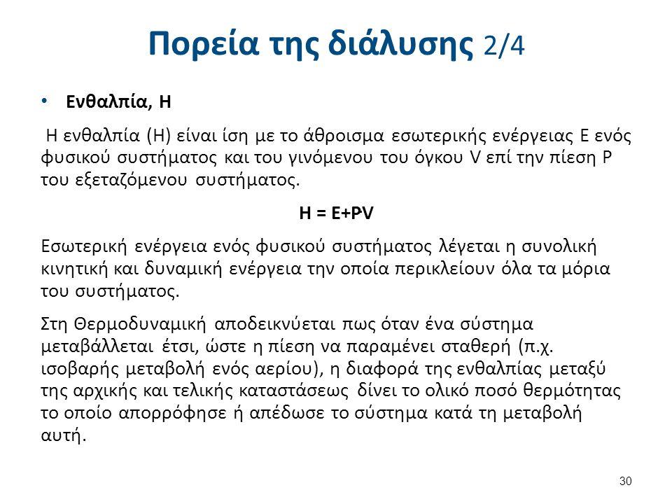 Πορεία της διάλυσης 2/4 Eνθαλπία, Η Η ενθαλπία (Η) είναι ίση με το άθροισμα εσωτερικής ενέργειας Ε ενός φυσικού συστήματος και του γινόμενου του όγκου