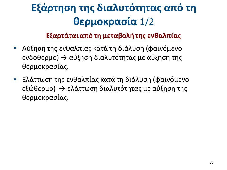 Εξάρτηση της διαλυτότητας από τη θερμοκρασία 1/2 Εξαρτάται από τη μεταβολή της ενθαλπίας Αύξηση της ενθαλπίας κατά τη διάλυση (φαινόμενο ενδόθερμο) →