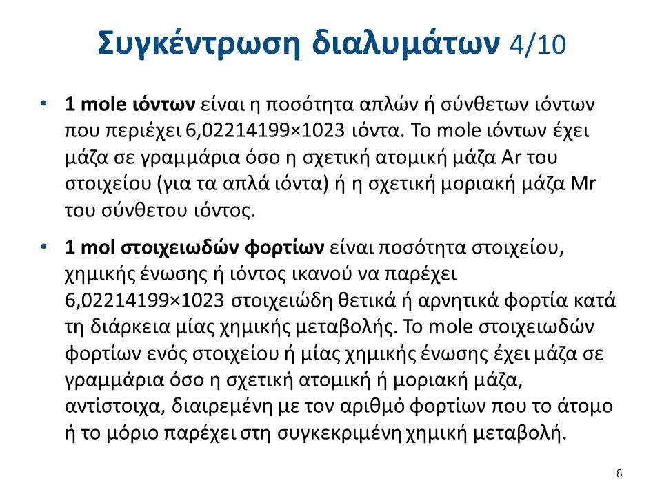 Μοριακότητα κατά βάρος, molality, m 19 Παράδειγμα: Ποια η μοριακότητα κατά βάρος διαλύματος αποτελούμενου από 10 g NaOH σε 500 g νερό; 10 g NaOH / (40 g NaOH / 1 mol NaOH) = 0.25 mol NaOH 500 g νερό x 1 kg / 1000 g = 0.50 kg νερό molality = 0.25 mol / 0.50 kg molality = 0.50 M / kg molality = 0.50 m Η μοριακότητα κατά βάρος και η μοριακότητα κατ' όγκο υδατικού διαλύματος συμίπτουν σχεδόν για αραιά, υδατικά διαλύματα στους 25 Ο C γιατί η πυκνότητα του νερού σε αυτή τη θερμοκρασία είναι περίπου 1kg/l.