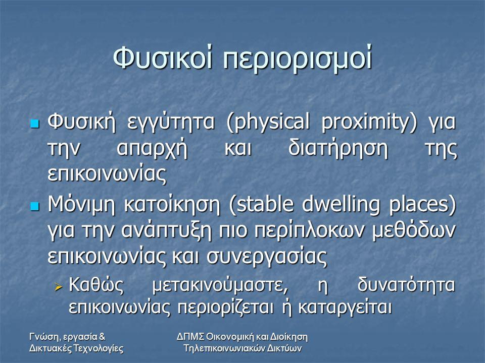 Γνώση, εργασία & Δικτυακές Τεχνολογίες ΔΠΜΣ Οικονομική και Διοίκηση Τηλεπικοινωνιακών Δικτύων Φυσικοί περιορισμοί Φυσική εγγύτητα (physical proximity) για την απαρχή και διατήρηση της επικοινωνίας Φυσική εγγύτητα (physical proximity) για την απαρχή και διατήρηση της επικοινωνίας Μόνιμη κατοίκηση (stable dwelling places) για την ανάπτυξη πιο περίπλοκων μεθόδων επικοινωνίας και συνεργασίας Μόνιμη κατοίκηση (stable dwelling places) για την ανάπτυξη πιο περίπλοκων μεθόδων επικοινωνίας και συνεργασίας  Καθώς μετακινούμαστε, η δυνατότητα επικοινωνίας περιορίζεται ή καταργείται