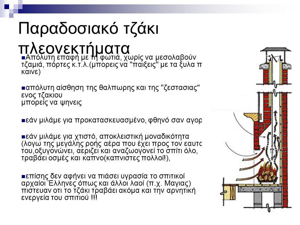 Παραδοσιακό τζάκι πλεονεκτήματα Απόλυτη επαφή με τη φωτιά, χωρίς να μεσολαβούν τζαμιά, πόρτες κ.τ.λ.(μπορεις να