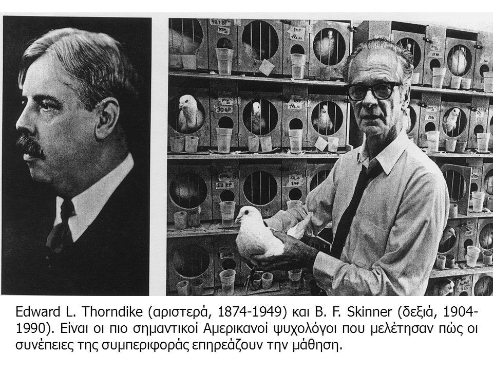 Edward L. Thorndike (αριστερά, 1874-1949) και B. F. Skinner (δεξιά, 1904- 1990). Είναι οι πιο σημαντικοί Αμερικανοί ψυχολόγοι που μελέτησαν πώς οι συν