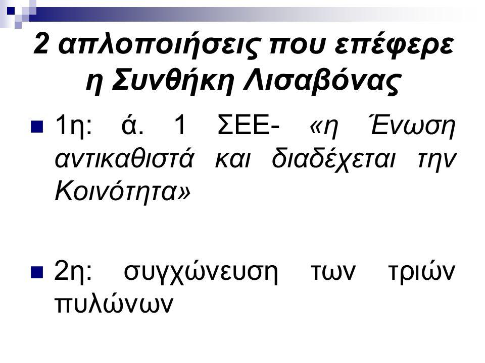 2 απλοποιήσεις που επέφερε η Συνθήκη Λισαβόνας 1η: ά. 1 ΣΕΕ- «η Ένωση αντικαθιστά και διαδέχεται την Κοινότητα» 2η: συγχώνευση των τριών πυλώνων