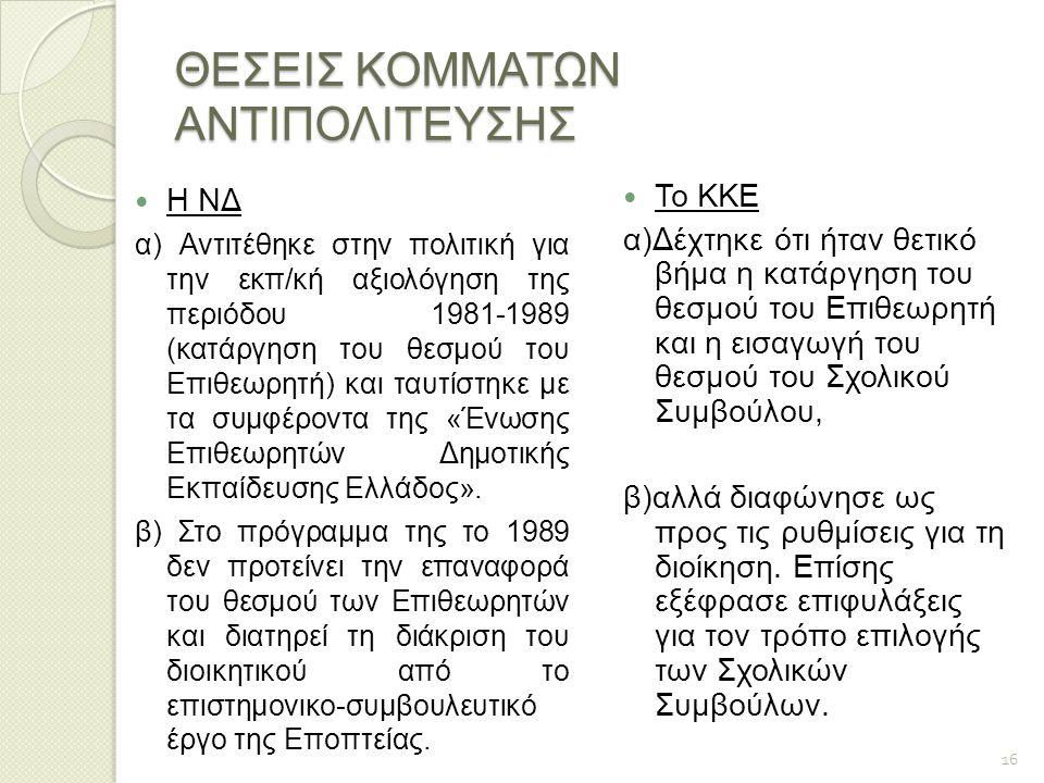 ΘΕΣΕΙΣ ΚΟΜΜΑΤΩΝ ΑΝΤΙΠΟΛΙΤΕΥΣΗΣ Η ΝΔ α) Αντιτέθηκε στην πολιτική για την εκπ/κή αξιολόγηση της περιόδου 1981-1989 (κατάργηση του θεσμού του Επιθεωρητή)