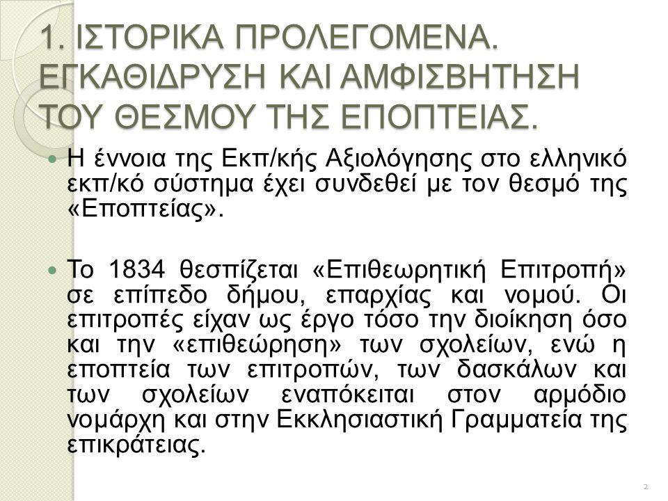 1. ΙΣΤΟΡΙΚΑ ΠΡΟΛΕΓΟΜΕΝΑ. ΕΓΚΑΘΙΔΡΥΣΗ ΚΑΙ ΑΜΦΙΣΒΗΤΗΣΗ ΤΟΥ ΘΕΣΜΟΥ ΤΗΣ ΕΠΟΠΤΕΙΑΣ. Η έννοια της Εκπ/κής Αξιολόγησης στο ελληνικό εκπ/κό σύστημα έχει συνδε