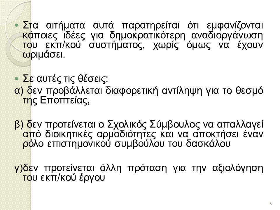 β.Ο θεσμός της Εποπτείας κατά τη μεταρρύθμιση το 1976.