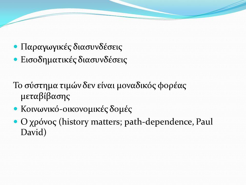 Παραγωγικές διασυνδέσεις Εισοδηματικές διασυνδέσεις Το σύστημα τιμών δεν είναι μοναδικός φορέας μεταβίβασης Κοινωνικό-οικονομικές δομές Ο χρόνος (history matters; path-dependence, Paul David)