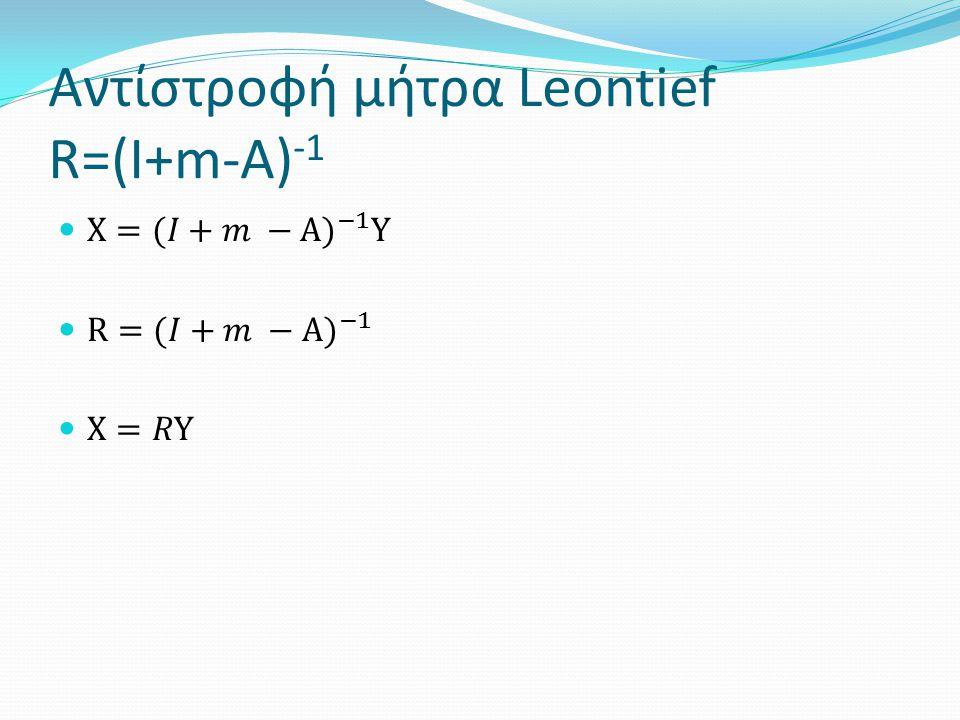 Αντίστροφή μήτρα Leontief R=(I+m-A) -1