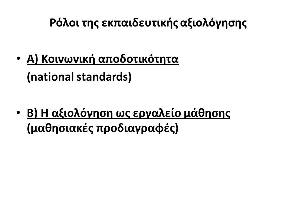Ρόλοι της εκπαιδευτικής αξιολόγησης Α) Κοινωνική αποδοτικότητα (national standards) Β) Η αξιολόγηση ως εργαλείο μάθησης (μαθησιακές προδιαγραφές)