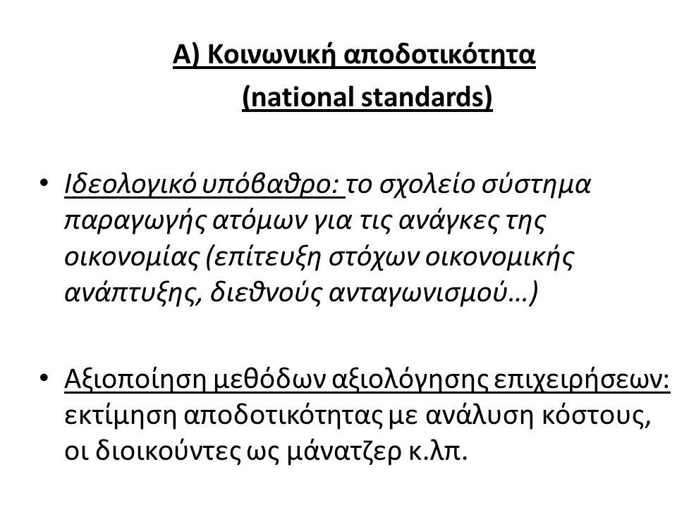 Α) Κοινωνική αποδοτικότητα (national standards) Ιδεολογικό υπόβαθρο: το σχολείο σύστημα παραγωγής ατόμων για τις ανάγκες της οικονομίας (επίτευξη στόχ