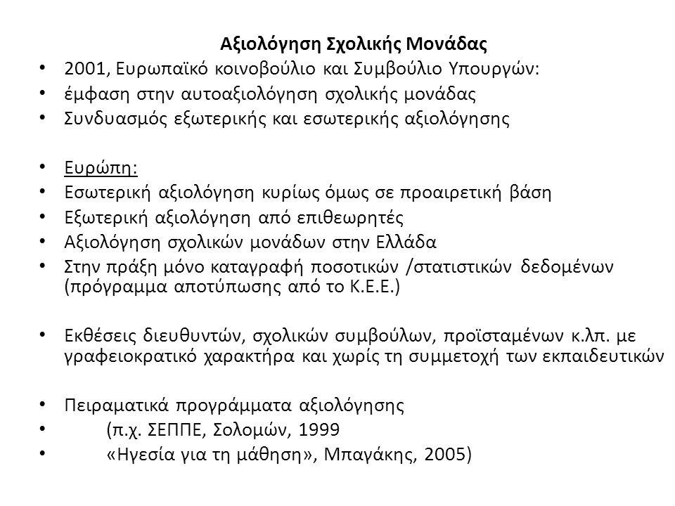 Αξιολόγηση Σχολικής Μονάδας 2001, Ευρωπαϊκό κοινοβούλιο και Συμβούλιο Υπουργών: έμφαση στην αυτοαξιολόγηση σχολικής μονάδας Συνδυασμός εξωτερικής και
