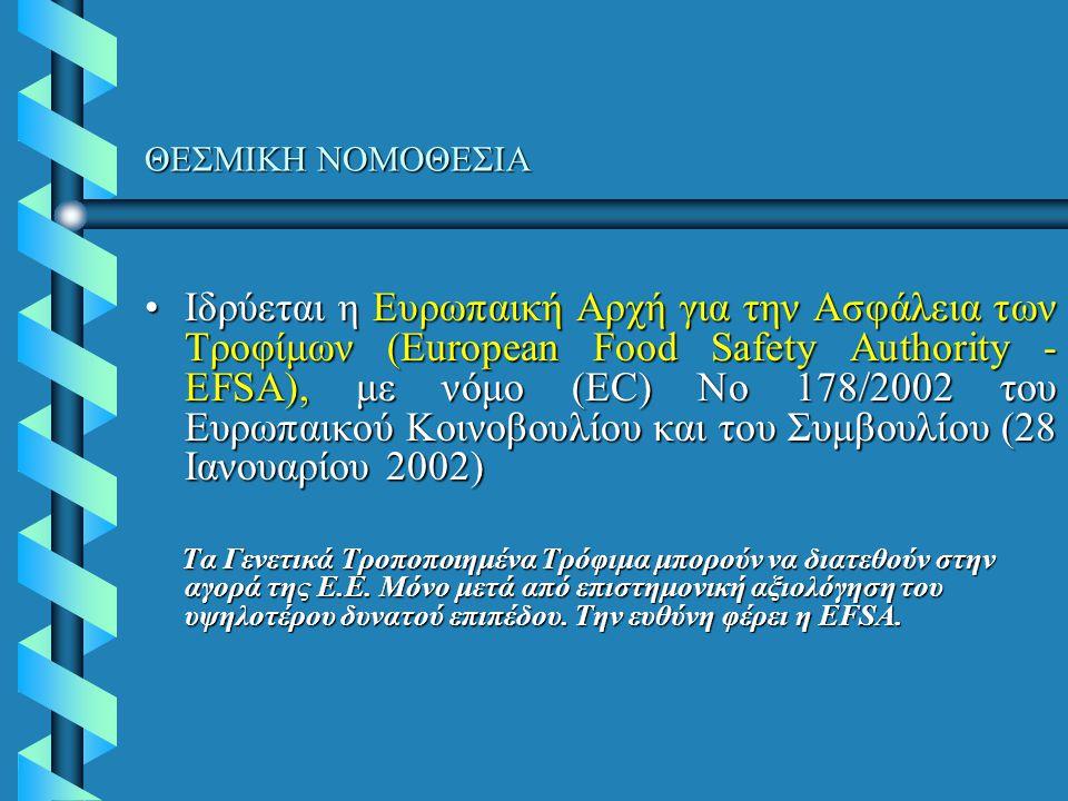 ΘΕΣΜΙΚΗ ΝΟΜΟΘΕΣΙΑ Ιδρύεται η Ευρωπαική Αρχή για την Ασφάλεια των Τροφίμων (European Food Safety Authority - EFSA), με νόμο (EC) No 178/2002 του Ευρωπαικού Κοινοβουλίου και του Συμβουλίου (28 Ιανουαρίου 2002)Ιδρύεται η Ευρωπαική Αρχή για την Ασφάλεια των Τροφίμων (European Food Safety Authority - EFSA), με νόμο (EC) No 178/2002 του Ευρωπαικού Κοινοβουλίου και του Συμβουλίου (28 Ιανουαρίου 2002) Τα Γενετικά Τροποποιημένα Τρόφιμα μπορούν να διατεθούν στην αγορά της Ε.Ε.