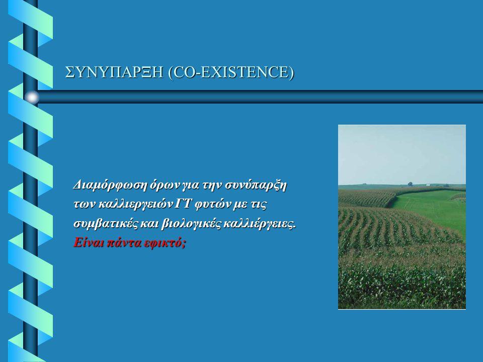 ΣΥΝΥΠΑΡΞΗ (CO-EXISTENCE) Διαμόρφωση όρων για την συνύπαρξη των καλλιεργειών ΓΤ φυτών με τις συμβατικές και βιολογικές καλλιέργειες. Είναι πάντα εφικτό
