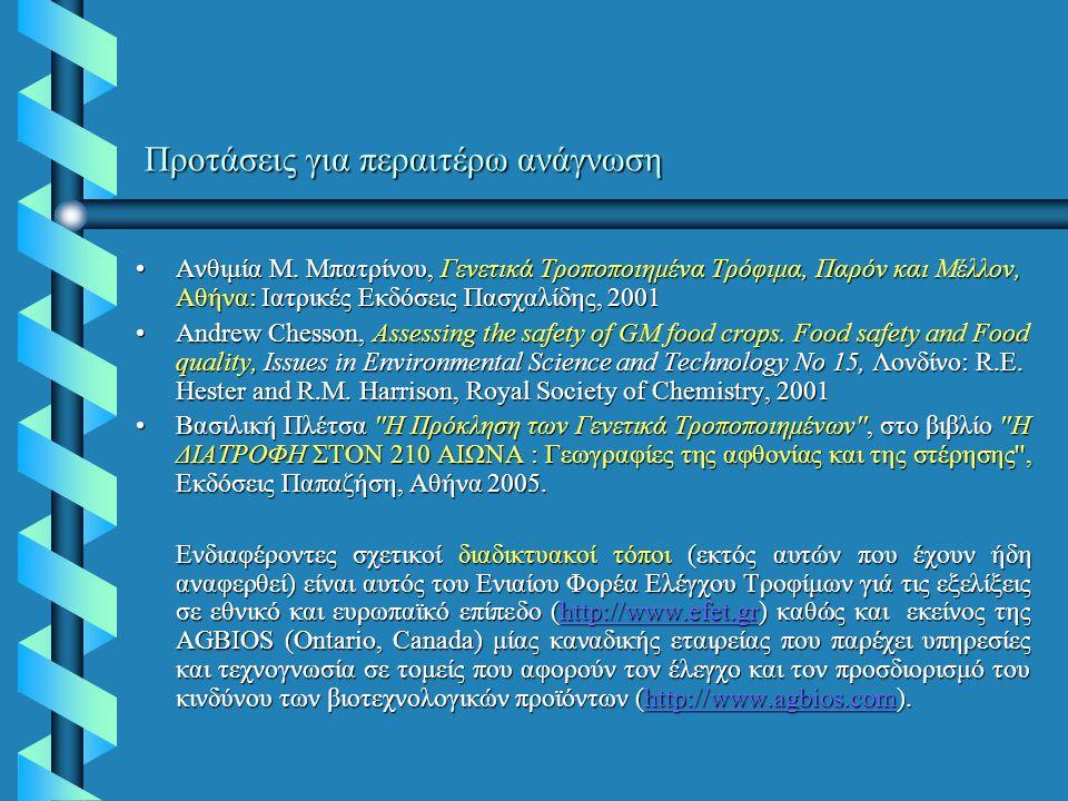 Προτάσεις για περαιτέρω ανάγνωση Ανθιμία Μ. Μπατρίνου, Γενετικά Τροποποιημένα Τρόφιμα, Παρόν και Μέλλον, Αθήνα: Ιατρικές Εκδόσεις Πασχαλίδης, 2001Ανθι