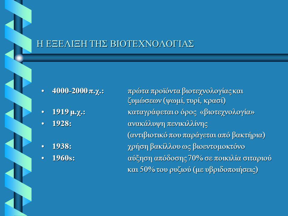 Η ΕΞΕΛΙΞΗ ΤΗΣ ΒΙΟΤΕΧΝΟΛΟΓΙΑΣ 4000-2000 π.χ.: πρώτα προϊόντα βιοτεχνολογίας και ζυμώσεων (ψωμί, τυρί, κρασί)4000-2000 π.χ.: πρώτα προϊόντα βιοτεχνολογίας και ζυμώσεων (ψωμί, τυρί, κρασί) 1919 μ.χ.:καταγράφεται ο όρος «βιοτεχνολογία»1919 μ.χ.:καταγράφεται ο όρος «βιοτεχνολογία» 1928: ανακάλυψη πενικιλλίνης1928: ανακάλυψη πενικιλλίνης (αντιβιοτικό που παράγεται από βακτήρια) (αντιβιοτικό που παράγεται από βακτήρια) 1938: χρήση βακίλλου ως βιοεντομοκτόνο1938: χρήση βακίλλου ως βιοεντομοκτόνο 1960s:αύξηση απόδοσης 70% σε ποικιλία σιταριού1960s:αύξηση απόδοσης 70% σε ποικιλία σιταριού και 50% του ρυζιού (με υβριδοποιήσεις) και 50% του ρυζιού (με υβριδοποιήσεις)