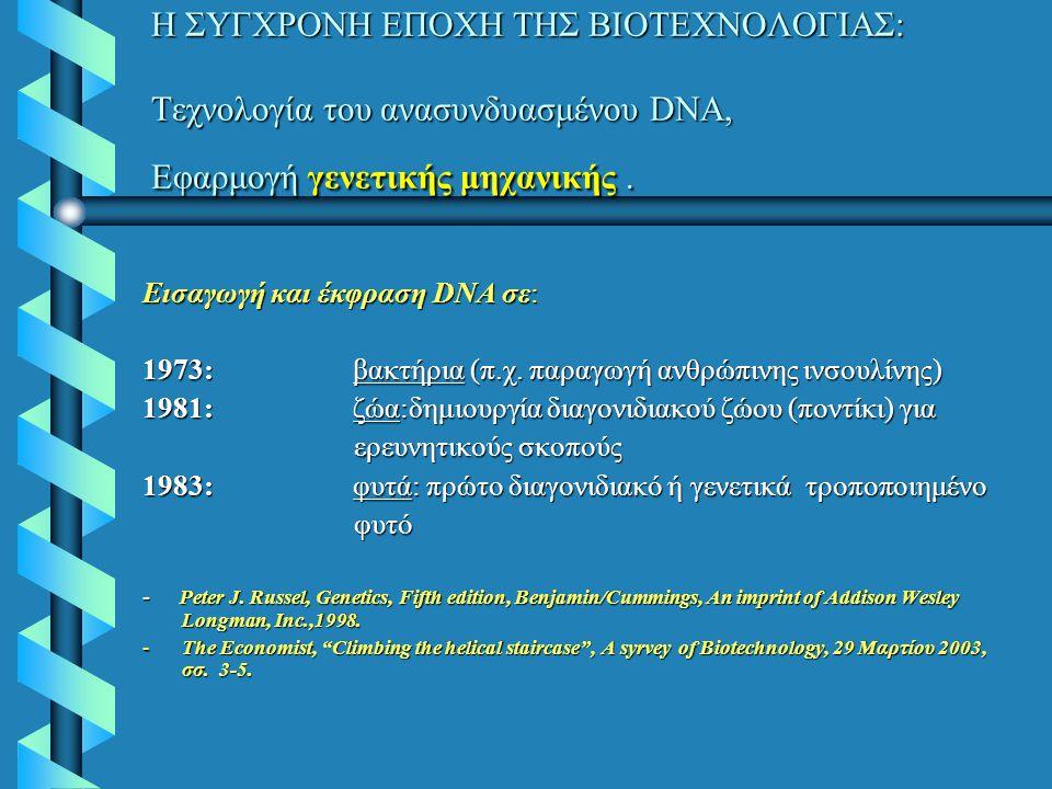 Η ΣΥΓΧΡΟΝΗ ΕΠΟΧΗ ΤΗΣ ΒΙΟΤΕΧΝΟΛΟΓΙΑΣ: Τεχνολογία του ανασυνδυασμένου DNA, Εφαρμογή γενετικής μηχανικής. Εισαγωγή και έκφραση DNA σε: 1973:βακτήρια (π.χ