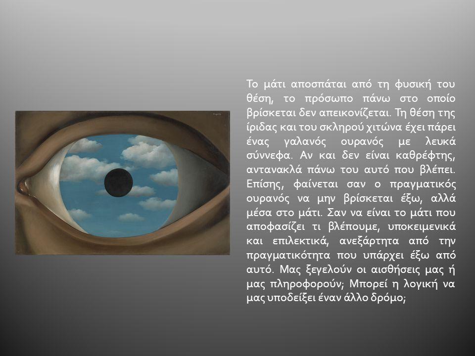 Το μάτι αποσπάται από τη φυσική του θέση, το πρόσωπο πάνω στο οποίο βρίσκεται δεν απεικονίζεται. Τη θέση της ίριδας και του σκληρού χιτώνα έχει πάρει