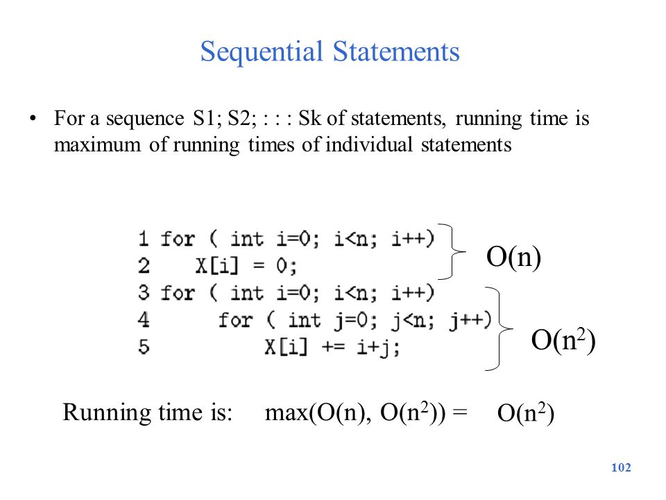 102 Sequential Statements For a sequence S1; S2; : : : Sk of statements, running time is maximum of running times of individual statements O(n) O(n 2