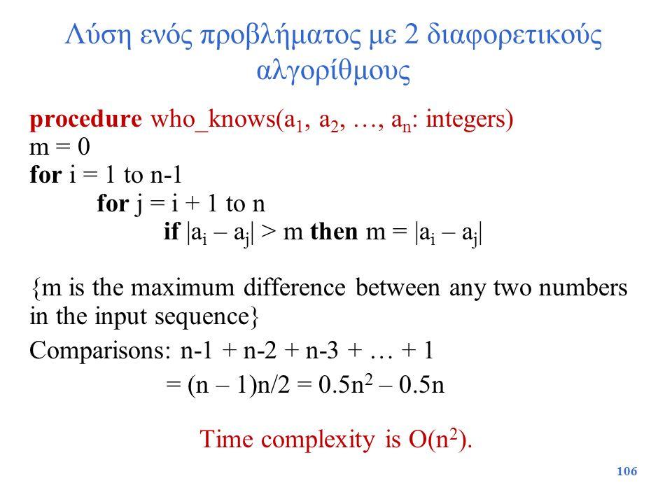 Λύση ενός προβλήματος με 2 διαφορετικούς αλγορίθμους procedure who_knows(a 1, a 2, …, a n : integers) m = 0 for i = 1 to n-1 for j = i + 1 to n if |a