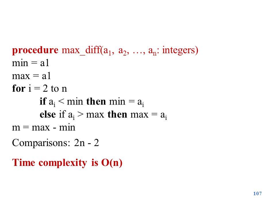 procedure max_diff(a 1, a 2, …, a n : integers) min = a1 max = a1 for i = 2 to n if a i < min then min = a i else if a i > max then max = a i m = max
