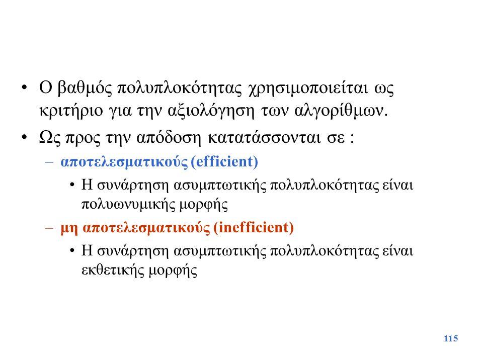 115 Ο βαθμός πολυπλοκότητας χρησιμοποιείται ως κριτήριο για την αξιολόγηση των αλγορίθμων. Ως προς την απόδοση κατατάσσονται σε : –αποτελεσματικούς (e
