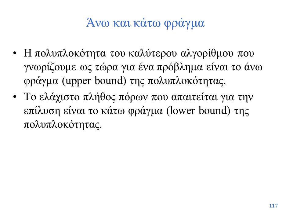 117 Άνω και κάτω φράγμα Η πολυπλοκότητα του καλύτερου αλγορίθμου που γνωρίζουμε ως τώρα για ένα πρόβλημα είναι το άνω φράγμα (upper bound) της πολυπλο