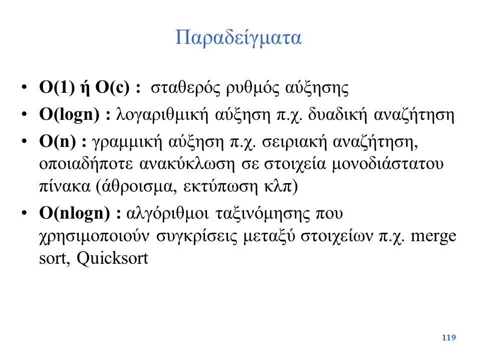 119 Παραδείγματα O(1) ή O(c) : σταθερός ρυθμός αύξησης O(lοgn) : λογαριθμική αύξηση π.χ. δυαδική αναζήτηση O(n) : γραμμική αύξηση π.χ. σειριακή αναζήτ