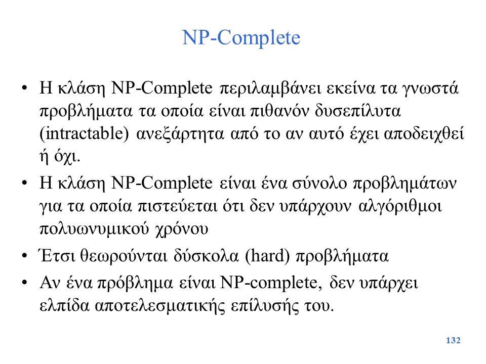132 NP-Complete Η κλάση NP-Complete περιλαμβάνει εκείνα τα γνωστά προβλήματα τα οποία είναι πιθανόν δυσεπίλυτα (intractable) ανεξάρτητα από το αν αυτό