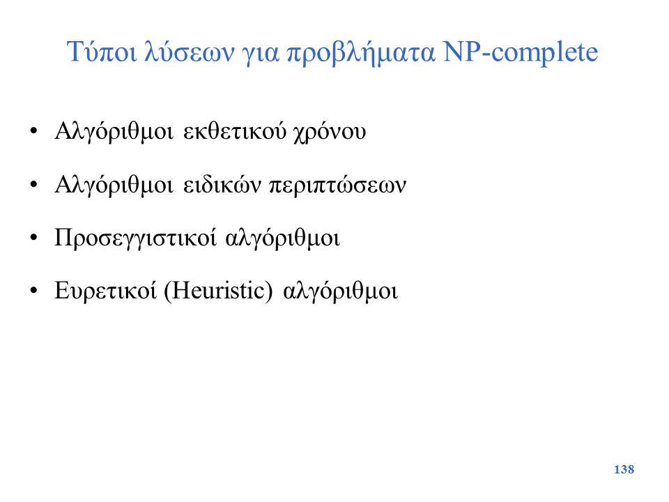 138 Τύποι λύσεων για προβλήματα NP-complete Αλγόριθμοι εκθετικού χρόνου Αλγόριθμοι ειδικών περιπτώσεων Προσεγγιστικοί αλγόριθμοι Ευρετικοί (Heuristic)