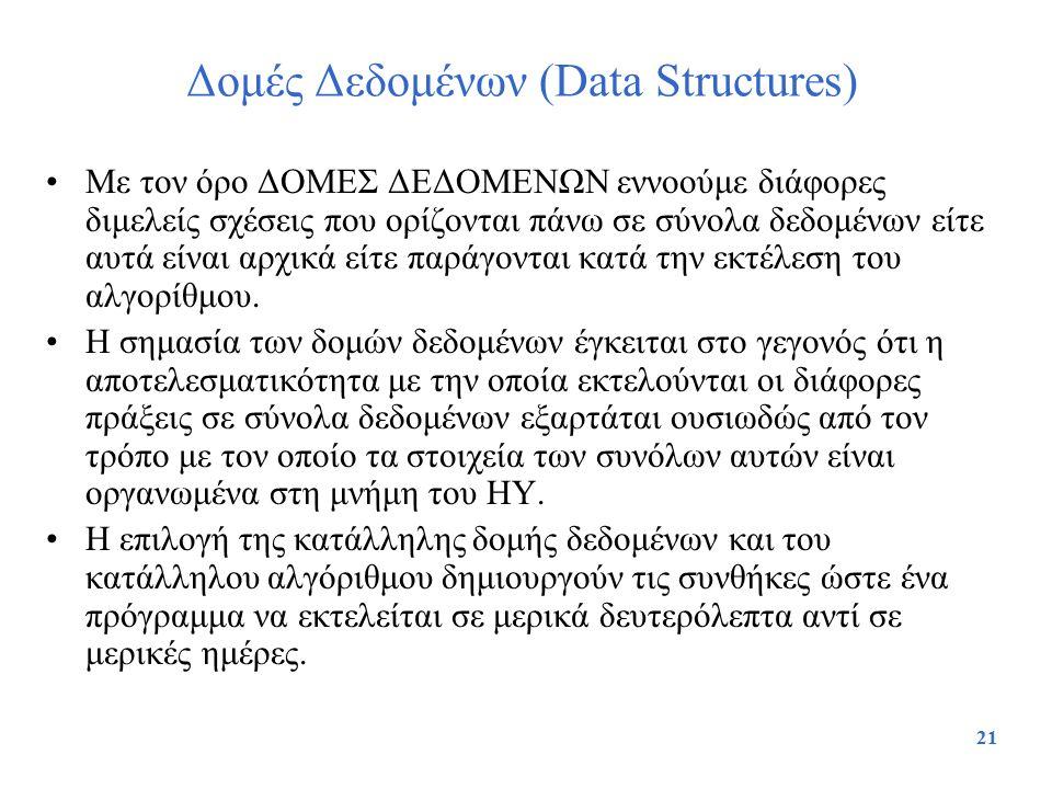 21 Δομές Δεδομένων (Data Structures) Με τον όρο ΔΟΜΕΣ ΔΕΔΟΜΕΝΩΝ εννοούμε διάφορες διμελείς σχέσεις που ορίζονται πάνω σε σύνολα δεδομένων είτε αυτά εί