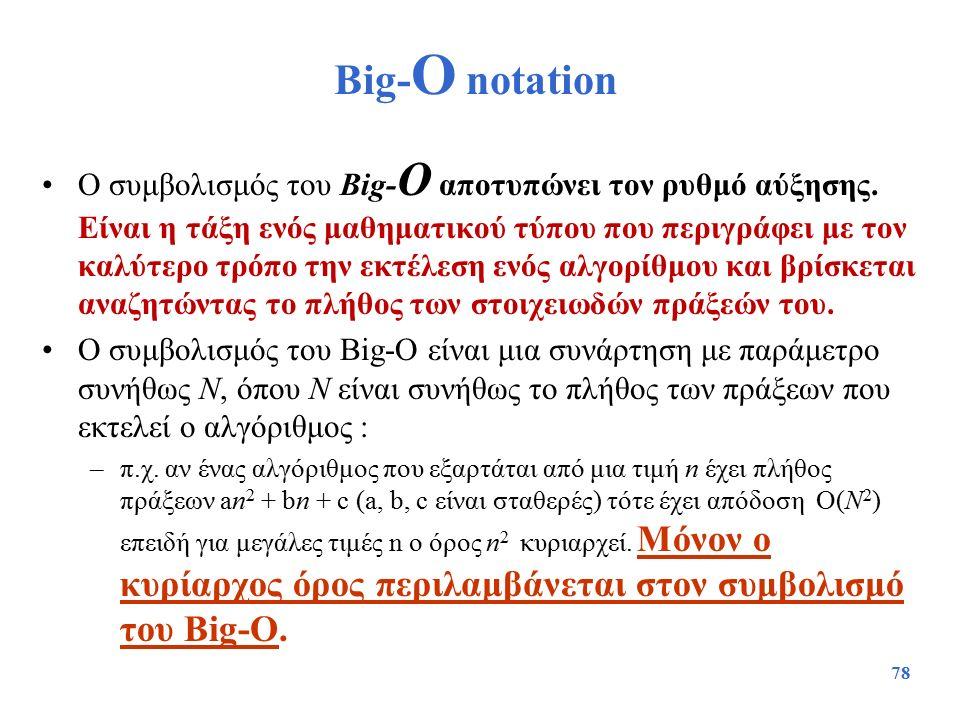 78 Big- O notation Ο συμβολισμός του Big- O αποτυπώνει τον ρυθμό αύξησης. Είναι η τάξη ενός μαθηματικού τύπου που περιγράφει με τον καλύτερο τρόπο την
