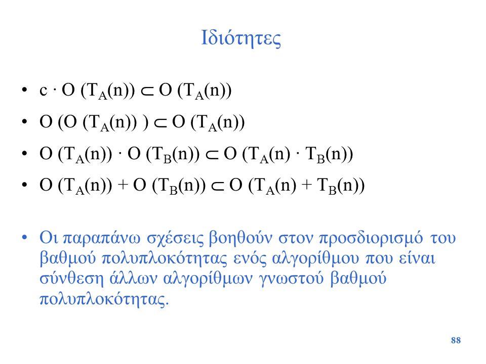 88 Ιδιότητες c · O (T A (n))  O (T A (n)) O (O (T A (n)) )  O (T A (n)) O (T A (n)) · O (T B (n))  Ο (T A (n) · T B (n)) O (T A (n)) + O (T B (n))