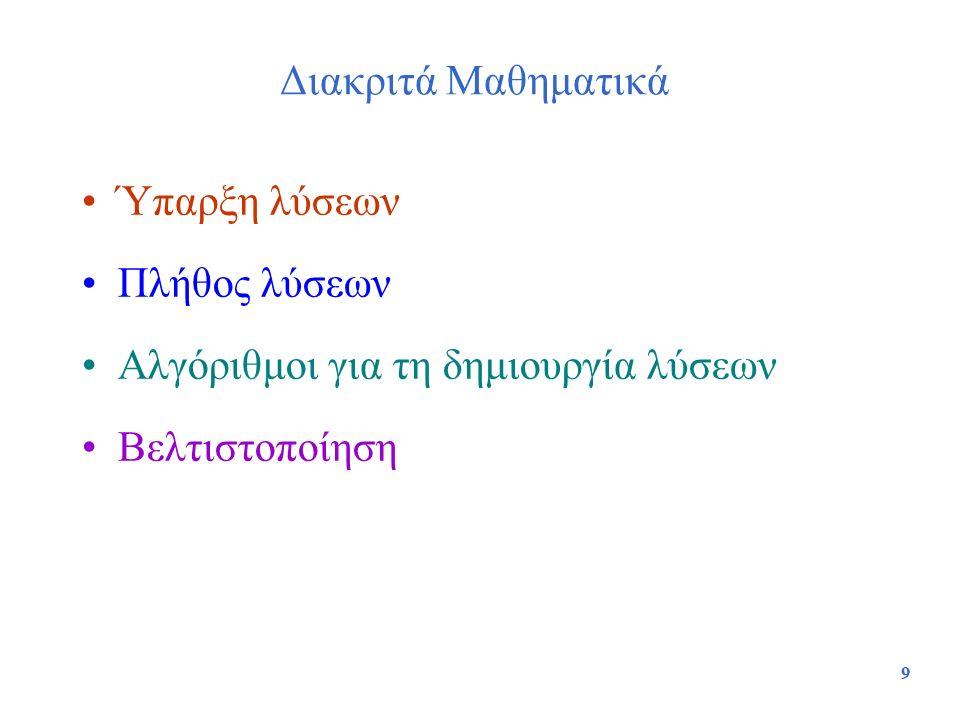 9 Διακριτά Μαθηματικά Ύπαρξη λύσεων Πλήθος λύσεων Αλγόριθμοι για τη δημιουργία λύσεων Βελτιστοποίηση