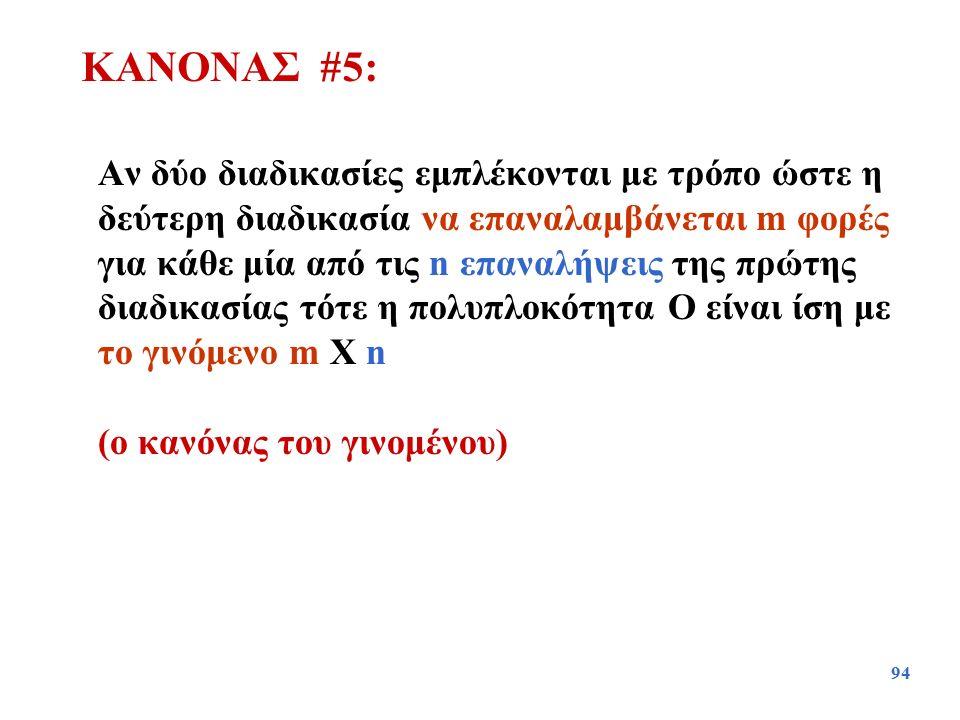 94 Αν δύο διαδικασίες εμπλέκονται με τρόπο ώστε η δεύτερη διαδικασία να επαναλαμβάνεται m φορές για κάθε μία από τις n επαναλήψεις της πρώτης διαδικασ