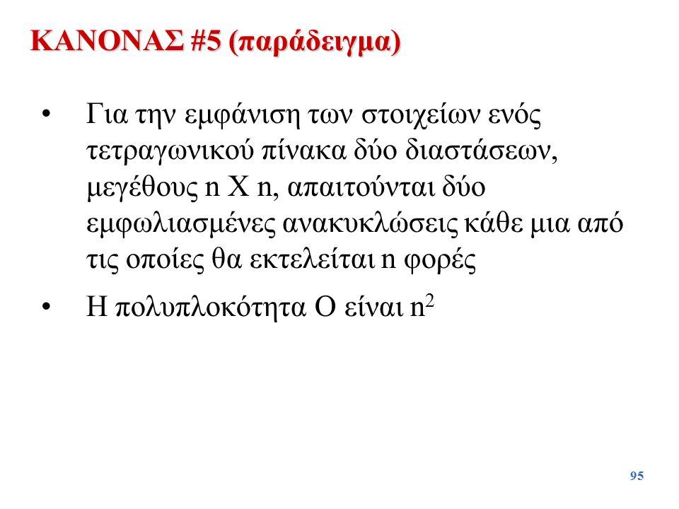 95 Για την εμφάνιση των στοιχείων ενός τετραγωνικού πίνακα δύο διαστάσεων, μεγέθους n X n, απαιτούνται δύο εμφωλιασμένες ανακυκλώσεις κάθε μια από τις
