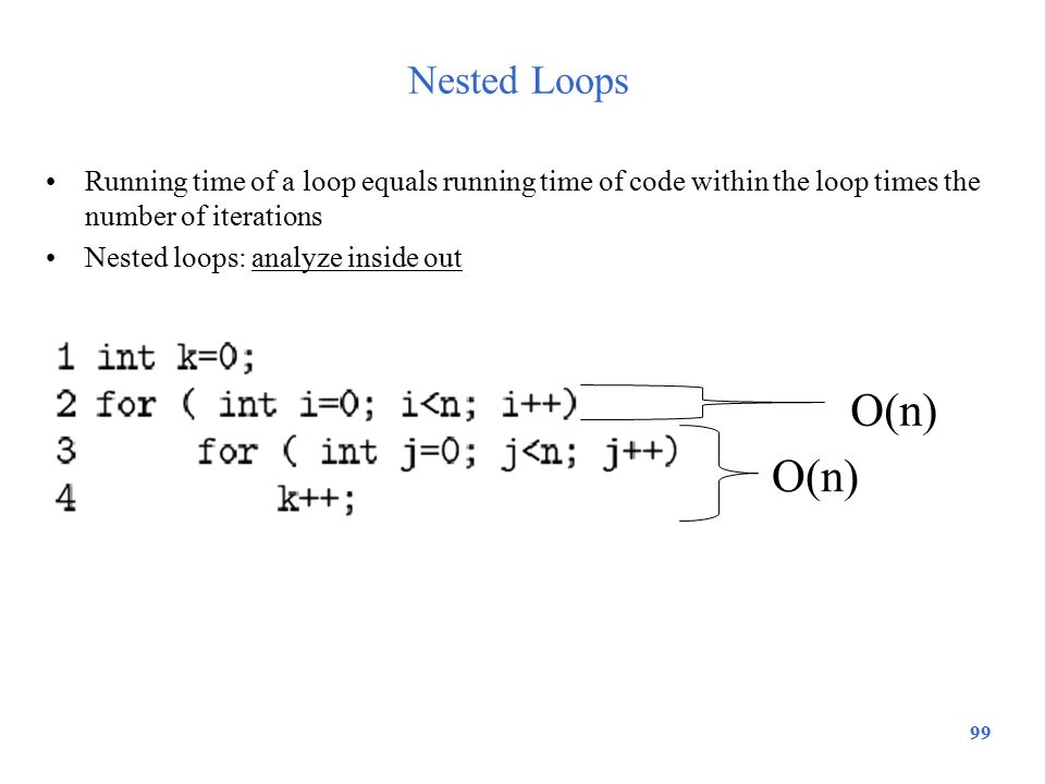 99 Nested Loops Running time of a loop equals running time of code within the loop times the number of iterations Nested loops: analyze inside out O(n