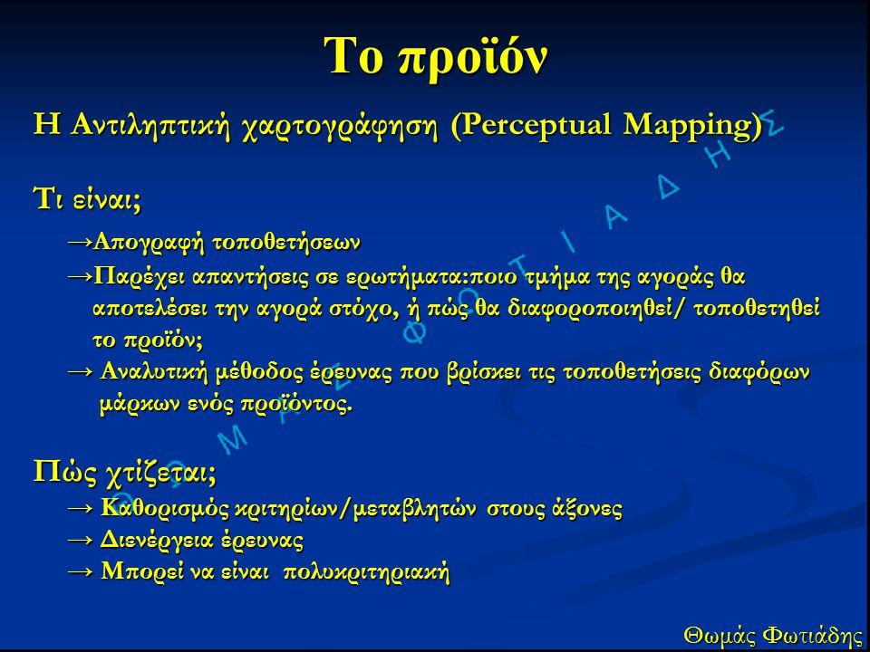 Το προϊόν Η Αντιληπτική χαρτογράφηση (Perceptual Mapping) Θωμάς Φωτιάδης Τι είναι; →Απογραφή τοποθετήσεων →Παρέχει απαντήσεις σε ερωτήματα:ποιο τμήμα
