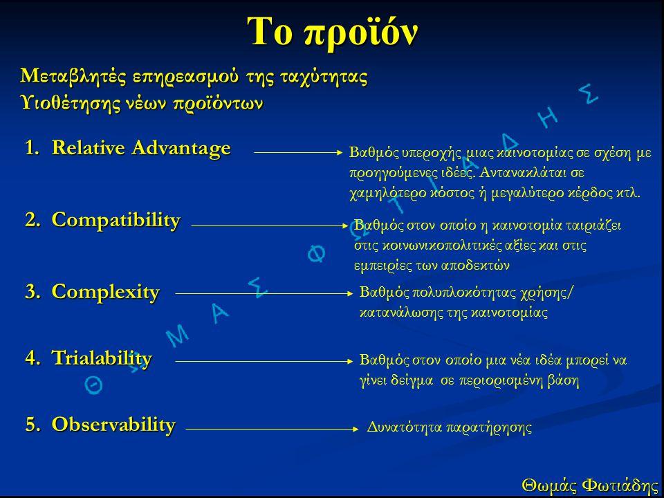 Το προϊόν Μεταβλητές επηρεασμού της ταχύτητας Υιοθέτησης νέων προϊόντων Θωμάς Φωτιάδης 1.Relative Advantage 2.Compatibility 3.Complexity 4.Trialabilit