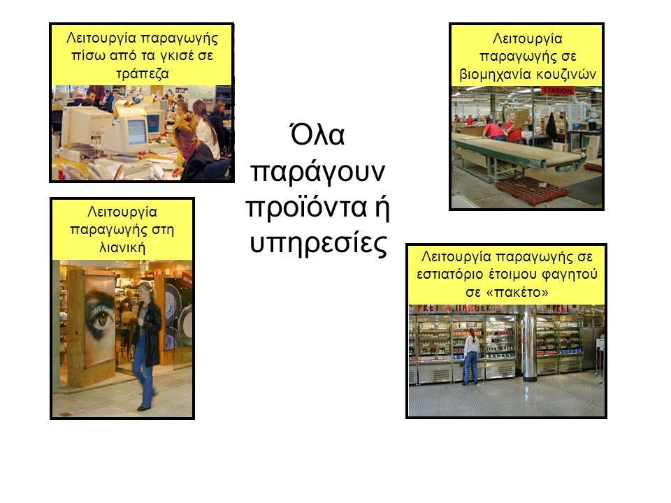 Όλα παράγουν προϊόντα ή υπηρεσίες Λειτουργία παραγωγής πίσω από τα γκισέ σε τράπεζα Λειτουργία παραγωγής σε βιομηχανία κουζινών Λειτουργία παραγωγής στη λιανική Λειτουργία παραγωγής σε εστιατόριο έτοιμου φαγητού σε «πακέτο»